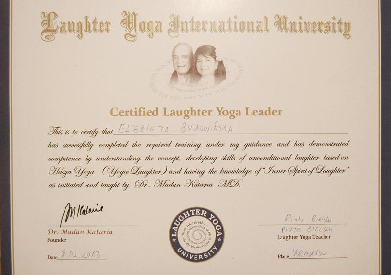 Dyplom joga śmiechu